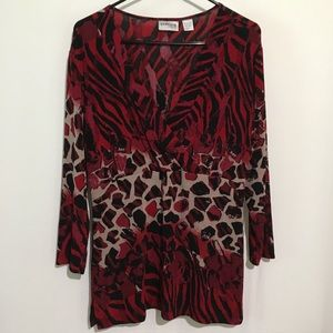 Chico's Travelers Red Animal Print Blouse